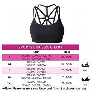 YIANNA Damen Yoga Sport BH ohne Bügel Nahtlos Sports Bra Crop Top Fitness Elastizität Bustier Schwarz mit Abnehmbare Gepolstert,UK-YA-BRA139-Black-XL - 3