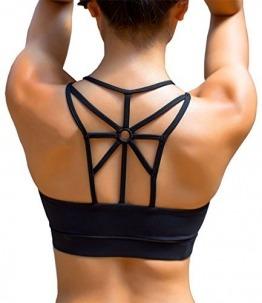 YIANNA Damen Yoga Sport BH ohne Bügel Nahtlos Sports Bra Crop Top Fitness Elastizität Bustier Schwarz mit Abnehmbare Gepolstert,UK-YA-BRA139-Black-XL - 1