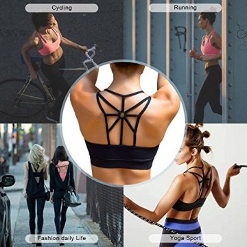 YIANNA Damen Yoga Sport BH ohne Bügel Nahtlos Sports Bra Crop Top Fitness Elastizität Bustier Schwarz mit Abnehmbare Gepolstert,UK-YA-BRA139-Black-XL - 6