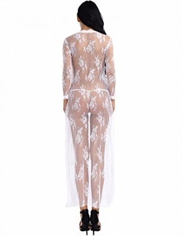 YiZYiF Transparent Kimono Blumen-Spitze Negligee Reizwäsche Nachtwäsche Morgenmantel Babydoll Lingerie Damen Dessous Set mit G-String Weiß S - 3