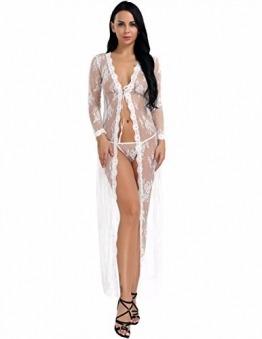YiZYiF Transparent Kimono Blumen-Spitze Negligee Reizwäsche Nachtwäsche Morgenmantel Babydoll Lingerie Damen Dessous Set mit G-String Weiß S - 1