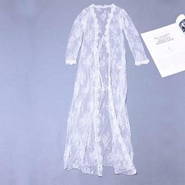 YiZYiF Transparent Kimono Blumen-Spitze Negligee Reizwäsche Nachtwäsche Morgenmantel Babydoll Lingerie Damen Dessous Set mit G-String Weiß S - 4