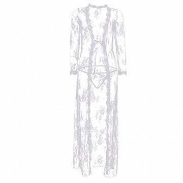 YiZYiF Transparent Kimono Blumen-Spitze Negligee Reizwäsche Nachtwäsche Morgenmantel Babydoll Lingerie Damen Dessous Set mit G-String Weiß S - 5