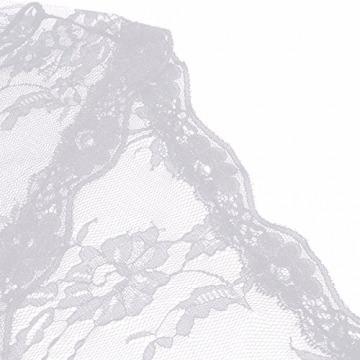 YiZYiF Transparent Kimono Blumen-Spitze Negligee Reizwäsche Nachtwäsche Morgenmantel Babydoll Lingerie Damen Dessous Set mit G-String Weiß S - 7
