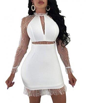 YOJDTD Kleider Damenkleider Langarmkleider Netzkleider Perlkleider, Weiß, XL - 1