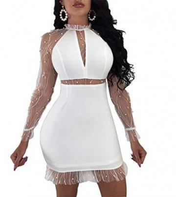 YOJDTD Kleider Damenkleider Langarmkleider Netzkleider Perlkleider, Weiß, XL - 2