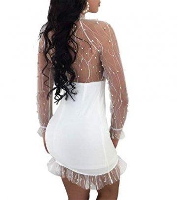 YOJDTD Kleider Damenkleider Langarmkleider Netzkleider Perlkleider, Weiß, XL - 3