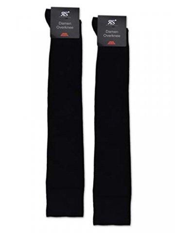 2 Paar Overknee Strümpfe Baumwolle Socken Overknees in vielen Farben - 10723 (35-38, Schwarz & Schwarz) - 2
