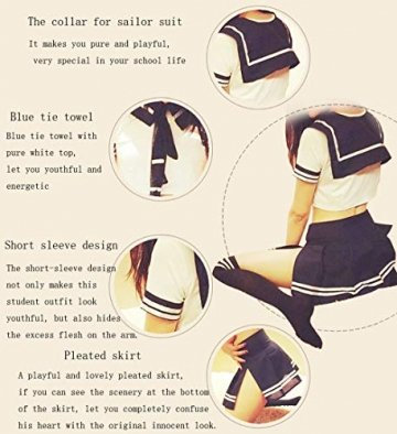 365-Shopping Sexy Cosplay Schulmädchen Dessous Outfit Mini Sailor Anzug mit Strümpfen - 4