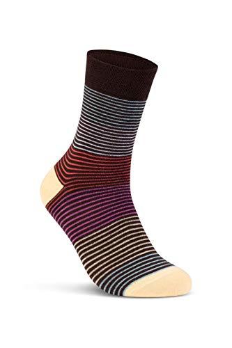 6 oder 12 Paar Damensocken Baumwolle Ringel Damen Socken Geringelt – E-808 (39-42, 12 Paar | Farbmix) -
