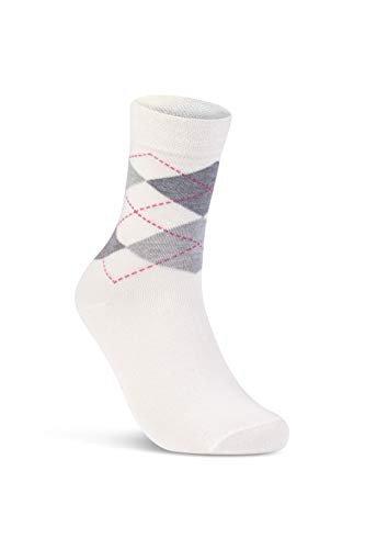 6 oder 12 Paar Damensocken ohne Gummi Baumwolle Karo Kariert Damen Socken – E-800 (39-42, 6 Paar | Farbmix) -