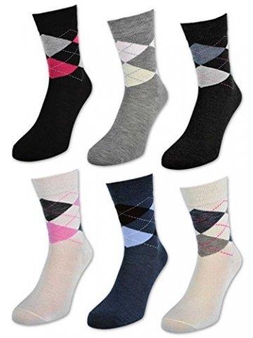 6 oder 12 Paar Damensocken ohne Gummi Baumwolle Karo Kariert Damen Socken - E-800 (39-42, 6 Paar | Farbmix) - 1
