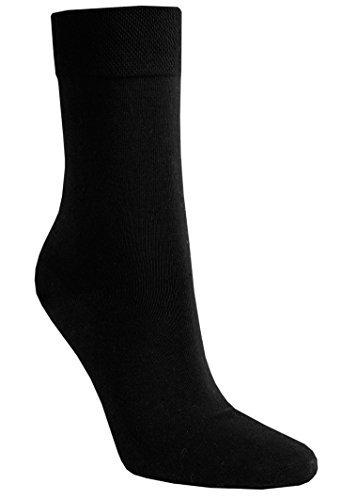6 PAAR Damen Luxus-Socken Strümpfe Söckchen ohne Gummi Baumwolle mit Elasthan, Schwarz, 39 - 42 - 2