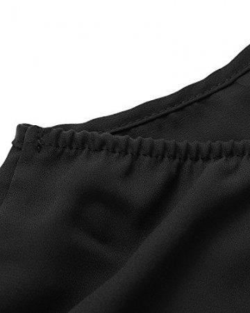 ACHIOOWA Tops Damen Neckholder Ärmellos Rückfrei V Ausschnitt Loose Schlinge Oberteile Bluse Sexy Shirts Schwarz L - 5