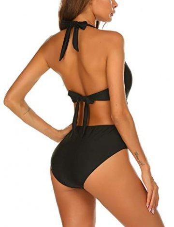 ADOME Damen Badeanzug Neckholder V-Ausschnitt Rückenfrei Einteiliger Schwimmanzug Bademode Bauchweg Bikini Set Swimsuit Swimwear Bademode Schwarz XXL - 5