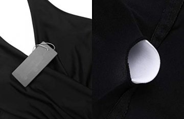 ADOME Damen Badeanzug Neckholder V-Ausschnitt Rückenfrei Einteiliger Schwimmanzug Bademode Bauchweg Bikini Set Swimsuit Swimwear Bademode Schwarz XXL - 6