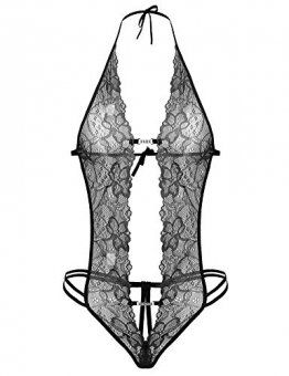 ADOME Reizvolle Dessous Reizwäsche Neckholder Lingerie Tiefer V-Ausschnitt Bodysuit Halter Negligee Spitze für Damen - 1