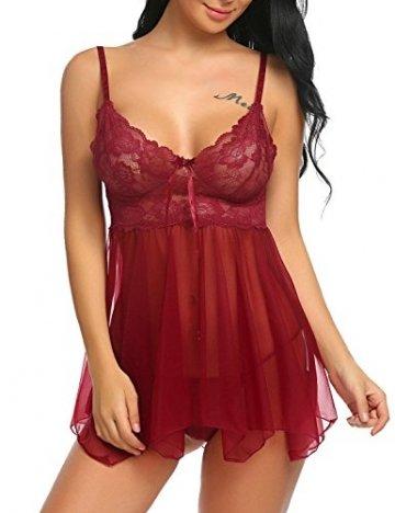 ADOME Spitze Negligee Sexy V-Ausschnitt Babydoll Lingerie Nachtwäsche Kleid Dessous Set für Damen mit Unregelmäßiger Saum und String Rot EU L - 3