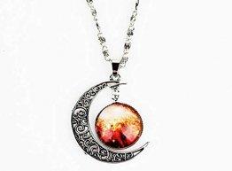 Alger Kristallschmuck Cosmic Star Moon Time Edelstein Anhänger Halskette High-End Glänzende Hochzeitsdekoration, B - 1
