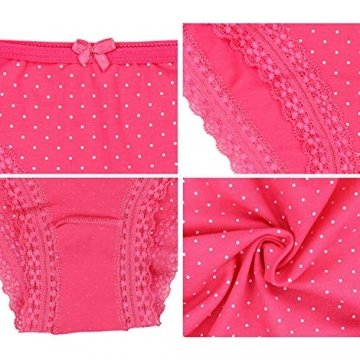 Alkato Damen Slips mit Punkten und Spitze 10er Pack, Farbe: Farbenmix 1, Größe: M - 2