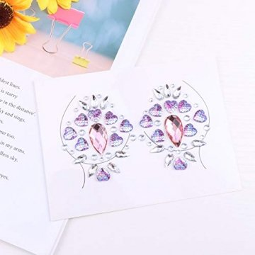 Amosfun Lady Crystal Breast Pasties Acryl Diamanten kleben Kunst Karneval Party Brust Aufkleber (lila) - 2