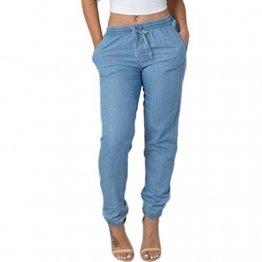 AMUSTER Damen Leinenhose Leichte Sommerhose Tunnelbund mit Gummizug Frauen Elastische Taille Freizeithosen Hohe Taille Jeans beiläufige Blau Denim-Hosen - 1