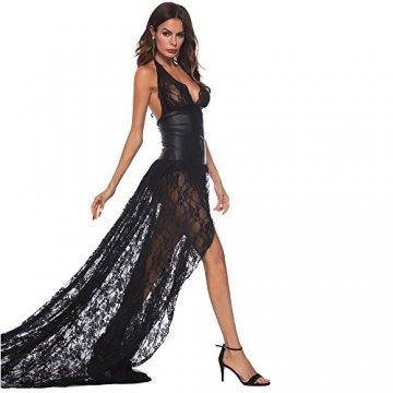 Ansenesna Reizwäsche Damen Erotik Schwarz Kleid Push Up Leder Spitze Transparente Babydoll Frauen Leidenschaft Versuchung Kostüme (M, Schwarz) - 4