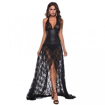 Ansenesna Reizwäsche Damen Erotik Schwarz Kleid Push Up Leder Spitze Transparente Babydoll Frauen Leidenschaft Versuchung Kostüme (M, Schwarz) - 1