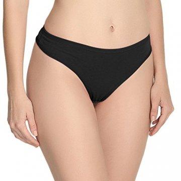 Anzermix Damen 6er Pack Baumwolle Thong Unterwäsche Assorted (Black 6Pack, Large) - 2