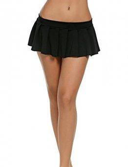 Avidlove Mini Rock Schulmädchen Skirt Damen Kurz Minirock Röcke Frauen Sexy Dessous Solid gefaltet Nachtwäsche Reizvolle, Schwarz, Gr. L - 1