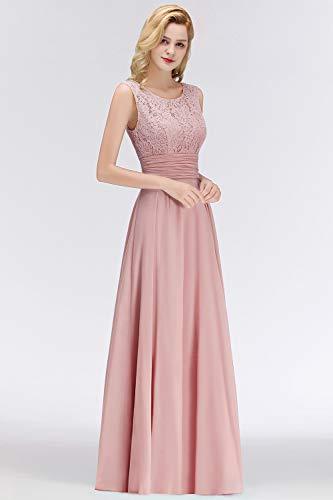 Babyonlinedress® Damen Kleider Langes Festliches A Linie Brautjungfernkleid Tüll Abendkleid Cocktailkleid Faltenrock Altrosa 36 - 3