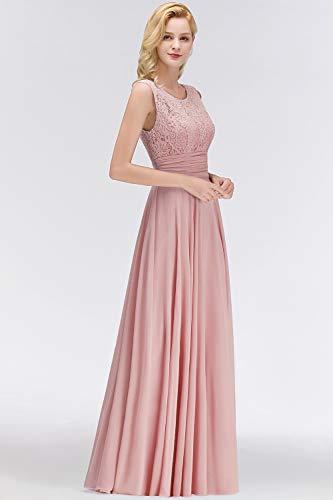 Babyonlinedress® Damen Kleider Langes Festliches A Linie Brautjungfernkleid Tüll Abendkleid Cocktailkleid Faltenrock Altrosa 36 - 4