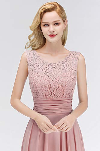 Babyonlinedress® Damen Kleider Langes Festliches A Linie Brautjungfernkleid Tüll Abendkleid Cocktailkleid Faltenrock Altrosa 36 - 5