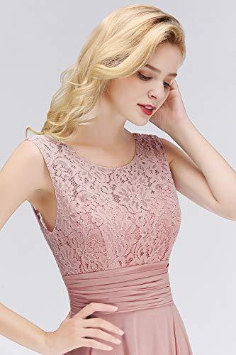 Babyonlinedress® Damen Kleider Langes Festliches A Linie Brautjungfernkleid Tüll Abendkleid Cocktailkleid Faltenrock Altrosa 36 - 6