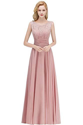 Babyonlinedress® Damen Kleider Langes Festliches A Linie Brautjungfernkleid Tüll Abendkleid Cocktailkleid Faltenrock Altrosa 36 - 1