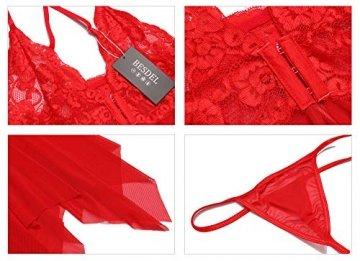 BESDEL Damen Sexy Dessous Blumenspitze V-Ausschnitt Neckholder Chemise Vorne Offen Sexy Sheer Babydoll Rot S - 3