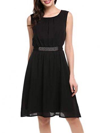 Beyove Damen Chiffon Kleid Sommerkleid mit Plissee-Falten Spitzenkleid Cocktailkleid Brautjungfernkleid Ärmellos (EU 36(Herstellergröße: S), F+Schwarz) - 2