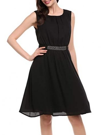 Beyove Damen Chiffon Kleid Sommerkleid mit Plissee-Falten Spitzenkleid Cocktailkleid Brautjungfernkleid Ärmellos (EU 36(Herstellergröße: S), F+Schwarz) - 3