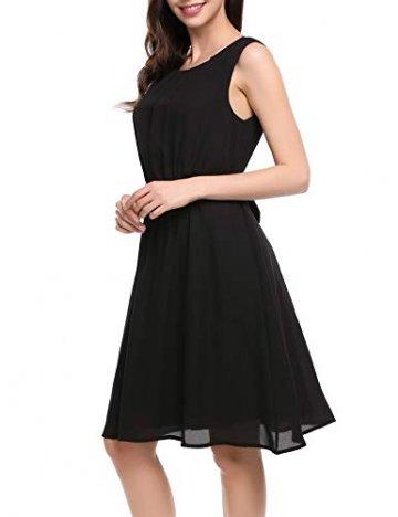 Beyove Damen Chiffon Kleid Sommerkleid mit Plissee-Falten Spitzenkleid Cocktailkleid Brautjungfernkleid Ärmellos (EU 36(Herstellergröße: S), F+Schwarz) - 4