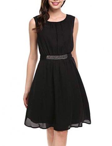 Beyove Damen Chiffon Kleid Sommerkleid mit Plissee-Falten Spitzenkleid Cocktailkleid Brautjungfernkleid Ärmellos (EU 36(Herstellergröße: S), F+Schwarz) - 1