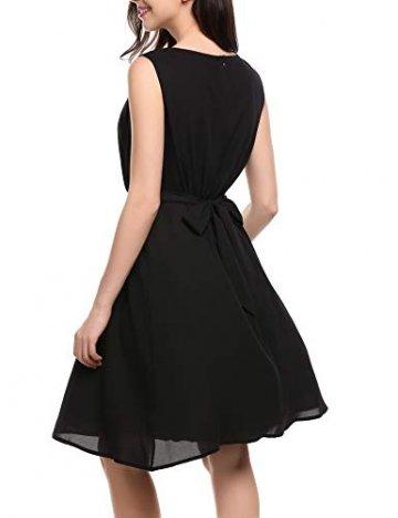 Beyove Damen Chiffon Kleid Sommerkleid mit Plissee-Falten Spitzenkleid Cocktailkleid Brautjungfernkleid Ärmellos (EU 36(Herstellergröße: S), F+Schwarz) - 5