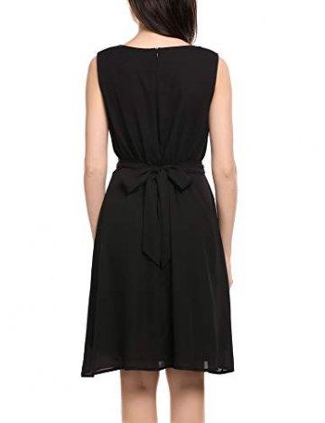 Beyove Damen Chiffon Kleid Sommerkleid mit Plissee-Falten Spitzenkleid Cocktailkleid Brautjungfernkleid Ärmellos (EU 36(Herstellergröße: S), F+Schwarz) - 6