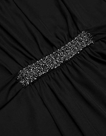 Beyove Damen Chiffon Kleid Sommerkleid mit Plissee-Falten Spitzenkleid Cocktailkleid Brautjungfernkleid Ärmellos (EU 36(Herstellergröße: S), F+Schwarz) - 8