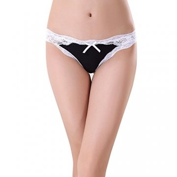 Bezioner 5er Pack Damen Slips Soft Unterhosen Panties Hipster Mit Spitze Strings Tangas, M, 5er Pack B - 3