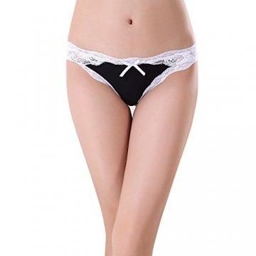 Bezioner 5er Pack Damen Slips Soft Unterhosen Panties Hipster Mit Spitze Strings Tangas Small B - 3