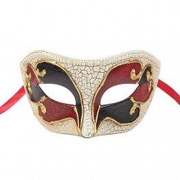 BLEVET Retro Venezianische Maskerade Maske Party Mardi Gras Venedig Prinzessin Halloween Karneval MZ057 (Red) - 1