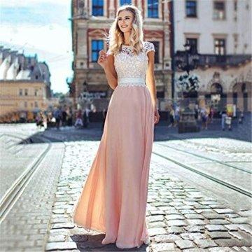 Bmkwsg Lianyiqun Sommer Damen Kleid Spitze Nahen Rock Einfarbig Ruckenfrei Abendkleid Langen Rock Chiffon Kleid Rosa S Dessus De
