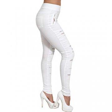 C.G Strech High Waist Jeans Hose Punk Schlitze Spitze Perlen Hoher Bund Röhrenjeans Gummizug Risse 0228 (Weiß, L/XL 40/42) - 3
