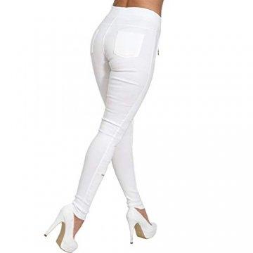 C.G Strech High Waist Jeans Hose Punk Schlitze Spitze Perlen Hoher Bund Röhrenjeans Gummizug Risse 0228 (Weiß, L/XL 40/42) - 4