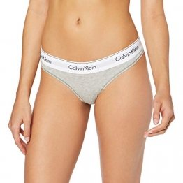 Calvin Klein Damen String MODERN COTTON - THONG, Gr. 38 (Herstellergröße: M), Grau (GREY HEATHER 020) - 1
